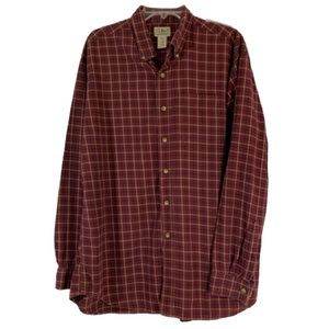 L.L. Bean Men's Flannel Button Down Red Plaid
